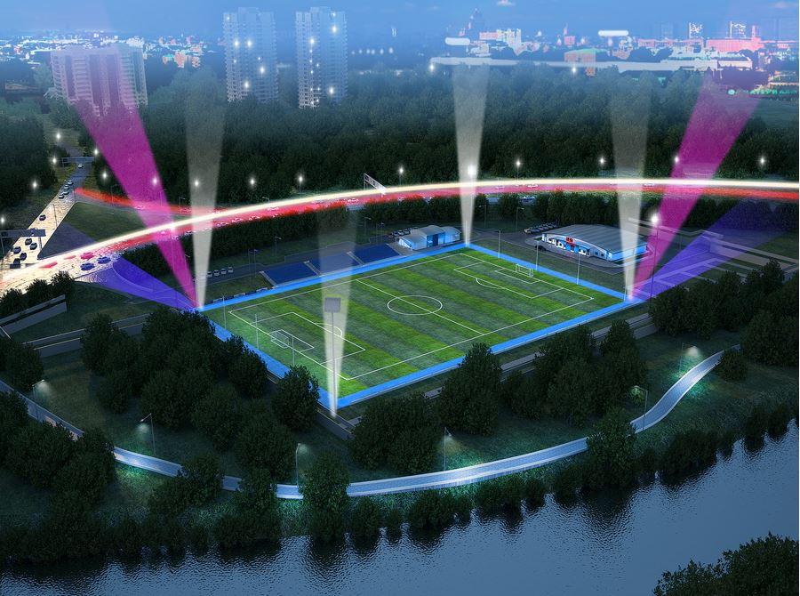 ночной вид стадиона Яхрома
