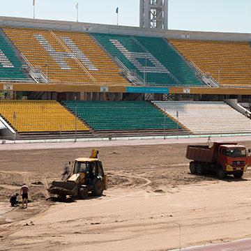 построим футбольное поле и стадион